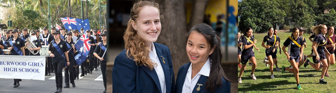 Smiling students at Burwood Girls High School, some marching in the band and some playing sport