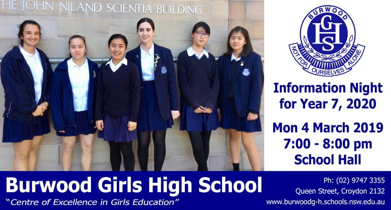 Advertisement for BGHS Year 6 Information Night at 7pm on Monday 4 March 2019