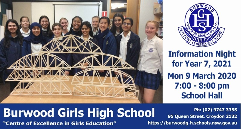 Advertisement for BGHS Year 6 Information Night at 7pm on Monday 9 March 2020