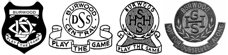 Four school crests from 1929 to present day