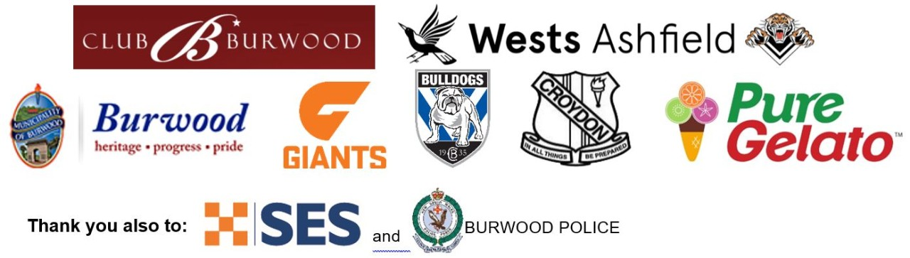 Logos of our sponsors Club Burwood, Wests Ashfield, Burwood Council, GWS Giants, Canterbury Bankstown Bulldogs, Croydon Public School, Pure Gelato, the SES and Burwood Police