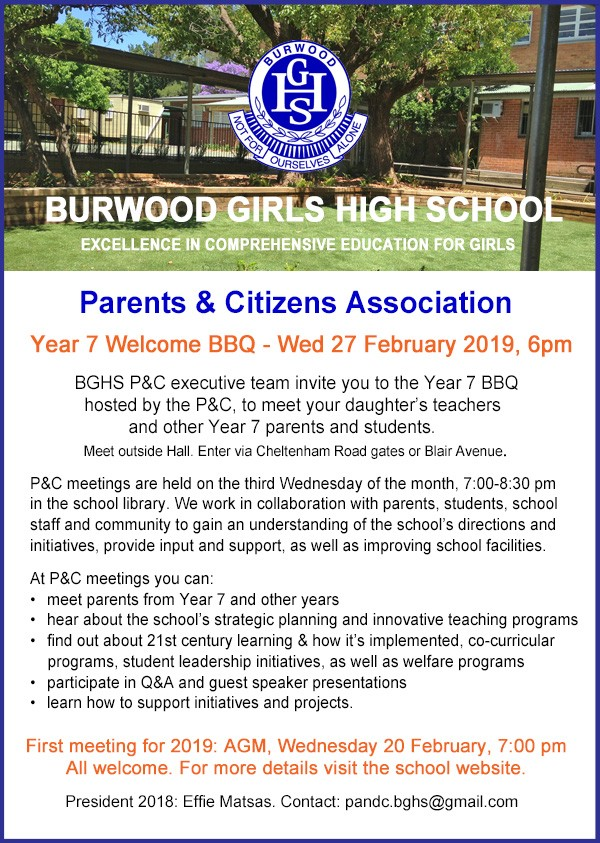 Flyer for Parents and Citizens meetings 2019 plus invitation to Year 7 BBQ on 27 February 2019.