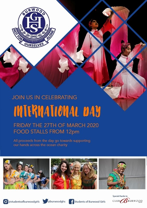 Flyer for International Day at Burwood Girls High School on 27 March 2020